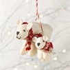 Felt Polar Bear Mother and Baby Decoration