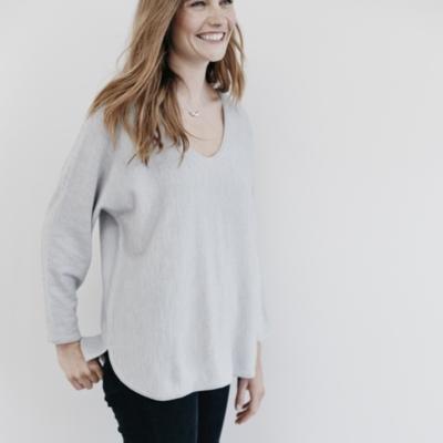 Merino Batwing Sweater - Pale Gray Marl