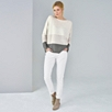 Mesh Stripe Boat Neck Sweater