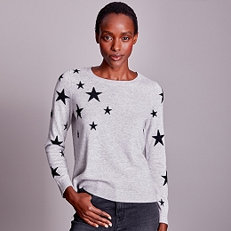 Star Jumper with Cashmere - Pale Grey Marl