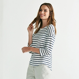 Linen Metallic Striped T-Shirt - Navy/White