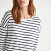 Linen Metallic Striped T-Shirt - Navy/White