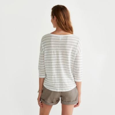 Linen Metallic Striped T-Shirt - Silver