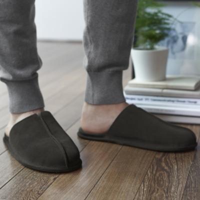Men's Suede Mule Slippers - Dark Gray