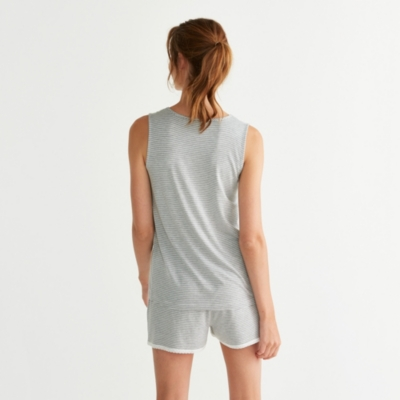 Micro Stripe Lace Trim Pajama Set