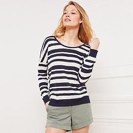Cotton Stripe Rib Hem T-Shirt