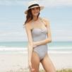 Mini Stripe Swimsuit - Light Gray