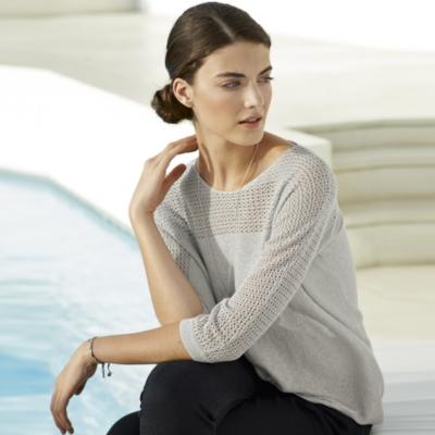 Mesh Trim Lurex Sweater