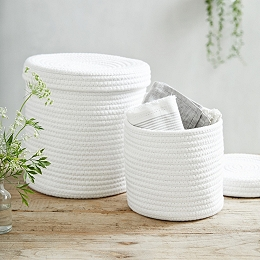 Rope Lidded Storage Boxes – Set of 2