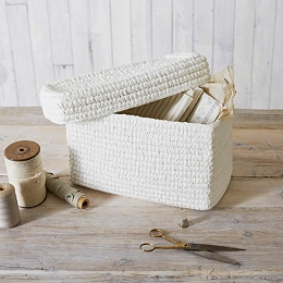 White Rope Lidded Storage Box