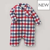 Sam Check Flannel Sleepsuit