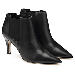 Leather Heeled Ankle Boots - Black
