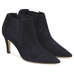 Suede Heeled Ankle Boots - Navy