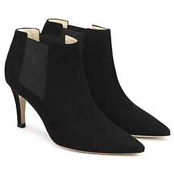 Suede Heeled Ankle Boots - Black