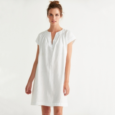 Linen Notch Neck Dress - White