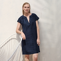 Linen Notch Neck Dress - French Navy