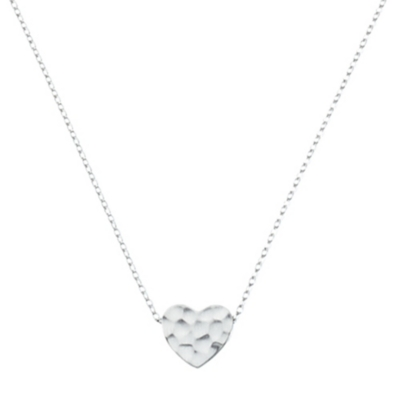 Solid Heart Silver Necklace