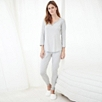 Notch Neck Stripe Pajama Top - Silver Gray Marl
