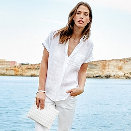Linen Gauze Top - White