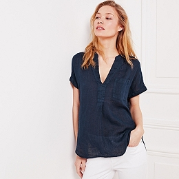 Linen Gauze Top - Navy