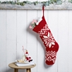 Fair Isle Knitted Stocking  - Red
