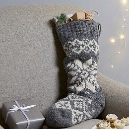 Fair Isle Knitted Stocking  - Gray