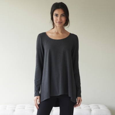 Pleat Back Jersey Top - Dark Charcoal Marl