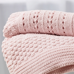 Knitted Patchwork Baby Blanket - Pink
