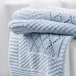 Knitted Patchwork Baby Blanket - Blue