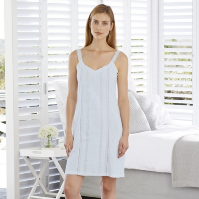 Pintuck Detailed Night Gown - Pale Blue
