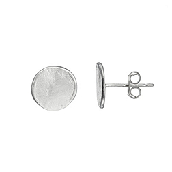 Pressed Disc Silver Earrings