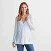 Pleat Detail V-Neck Sweater - Pale Blue Marl