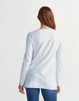 Pleat Detail V-Neck Sweater - Pale Blue Marl