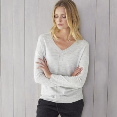 Pointelle Detail V-Neck Sweater