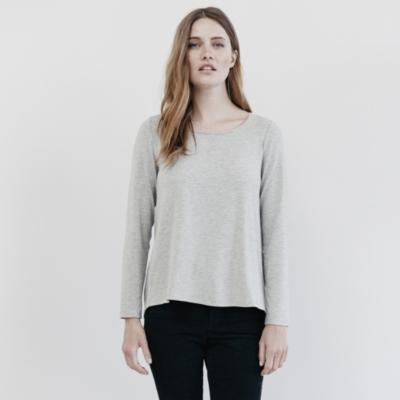 Peplum Back T-Shirt - SilverGrayMarl