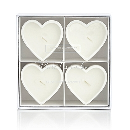 White Lavender Heart-Shaped Tealights - Set of 4