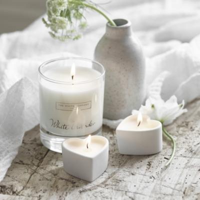 White Lavender Heart-Shaped Tealights - Set of 4