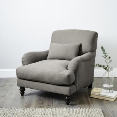Petersham Grey Cotton Armchair