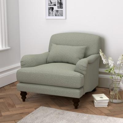 Petersham Light Grey Wool Armchair