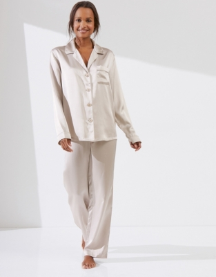 Silk Piped Pajama Set