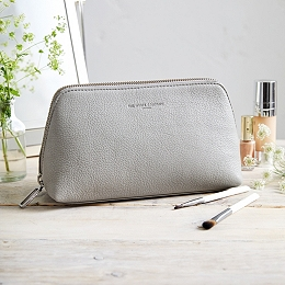 Pebblegrain Leather Make-Up Case - Grey