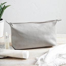 Pebblegrain Leather Wash Bag - Grey