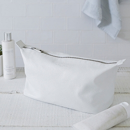 Pebblegrain Leather Wash Bag - White