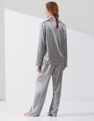 Silk Piped Pajama Set