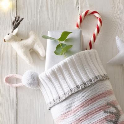 pink - White Knit Christmas Stockings