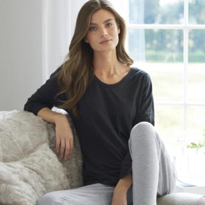 Pleat Shoulder Curved Hem Long Sleeve T- Shirt