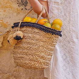 Straw Pom-Pom Trim Basket Bag