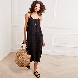 Linen Pintuck Sun Dress