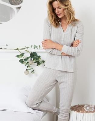 Pointelle Cuffed Pajama Bottoms