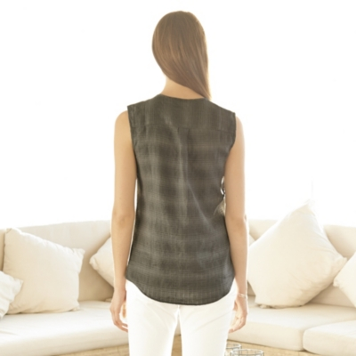 Pocket Sleeveless Linen Shirt